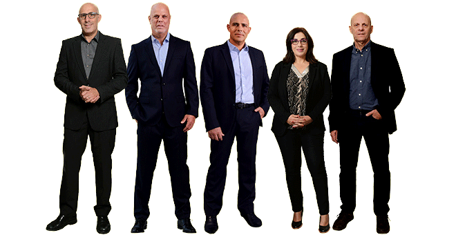 The new leadership team from left to right Profs. Roee Ozeri, Ziv Reich, Alon Chen, Irit Sagi and Alon Harmelin © The Weizmann Institute of Science